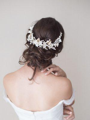 Boho bridal back headpiece / Tocado trasero de azahar
